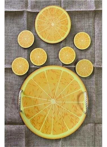 Kitchen Love 8 Parça Tepsi, Bardak Altlığı, Nihale Set-Portakal desen Renkli